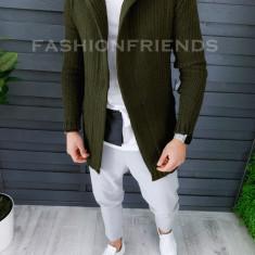Cardigan barbati kaki cu gluga slim fit ZR T3516