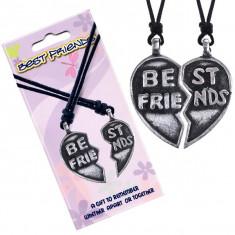 Coliere BEST FRIENDS (CEI MAI BUNI PRIETENI) - inimă în două jumătăți, inscripție, Best Friends