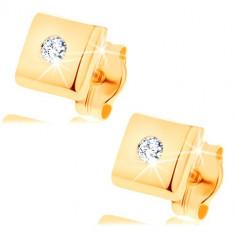 Cercei din aur galben de 14K - pătrate lucioase, zirconii de culoare transparentă