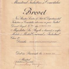 "BREVET PENTRU MEDALIA ""  MERITUL COMERCIAL SI INDUSTRIAL"" - CL. I -a"