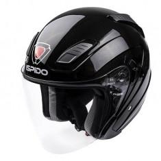 Casca deschisa ISPIDO AVIATOR SV cu ochelari de soare culoare negru metalic marimea XL