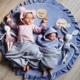 Saltea de joaca din spuma MeowBaby pentru copii, rotunda cu volanas, catifea blue