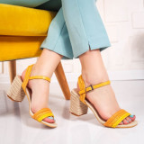 Sandale dama galbene cu toc Trigisa