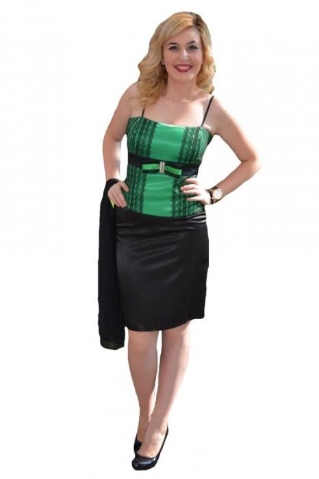 Costum de gala, doua piese, saten negru combinat cu verde