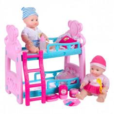 Set 2 bebelusi cu paturi suprapuse si accesorii, 28 cm, multicolor
