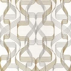 Tapet alb model abstract cu finisaj metalic evidentiat 507-20
