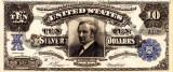 10 dolari 1908 Reproducere Bancnota USD , Dimensiune reala 1:1