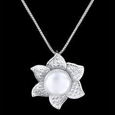 Colier din Argint 925 cu Perla Naturala si Diamante, Sunflower White