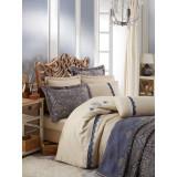 SET LUXURY Cottonbox Platinum Series: Cuvertura si Lenjerie de pat King din bumbac 100% Ornella Lacivert