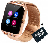 Ceas Smartwatch cu Telefon iUni GT08s Plus, Curea Metalica, Touchscreen, Camera, Notificari, Gold + Card MicroSD 4GB Cadou