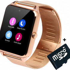 Ceas Smartwatch cu Telefon iUni Z60, Curea Metalica, Touchscreen, Camera, Notificari, Gold + Card MicroSD 4GB Cadou