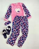 Pijama dama cu plusuri bleumarin cu roz extrem de pufoasa si calduroasa cu imprimeu Sweet