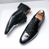 Pantofi Piele Manwil negri lac