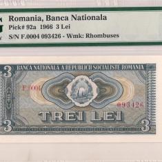 ROMANIA 3 lei 1966 P-92a PMG58