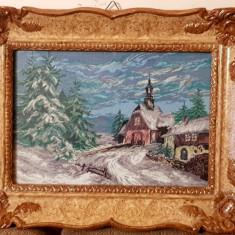 Gobelen - Peisaj de iarna -Rama Blondel tablou - pas mic
