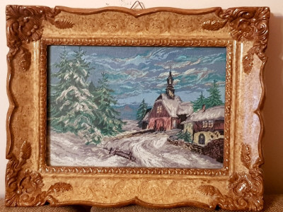Gobelen - Peisaj de iarna -Rama Blondel tablou - pas mic foto