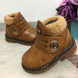 Cizme maro imblanite bocanci de iarna pt copii baieti bebe 25