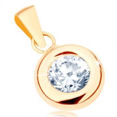 Pandantiv din aur 375 - un zirconiu rotund transparent într-o montură rotunjită lucioasă