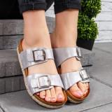 Papuci dama cu talpa groasa argintiii Verdira