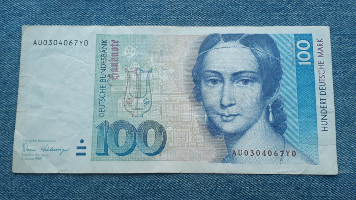 100 Mark 1989 Germania RFG / marci germane / seria AU0304067Y0