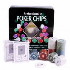 Set de poker 100 Chipuri marcate valoric Cutie Metalica