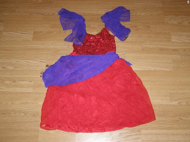 costum carnaval serbare rochie dans tiganca esmeralda pentru copii de 4-5-6 ani
