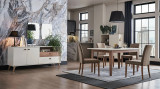 Set de mobila dining din pal, 9 piese Mayer Alb / Stejar