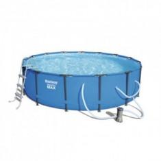 Piscina rotunda cu scara, cadru metalic, pompa de filtrare, 457x107 cm, Bestway® Steel Pro MAX Pool