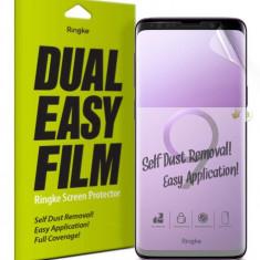 Set 2x Folie Samsung Galaxy S9 Plus, Auto-Curatare, Ringke Dual Easy, Transparent