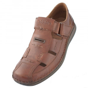 Sandale barbati, din piele naturala, marca Rieker, 05284-24-19-02-22, maro , marime: 41