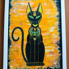 """Tablou pictura acrilica""""Pisica Egiptului"""""""