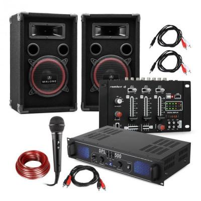Electronic-Star DJ-14 BT, DJ PA set, amplificator PA, mixer BT, 2 x difuzoare, micro karaoke foto