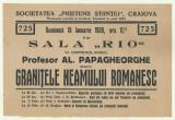 Afis Conferinta Prof. Al.Papagheorghe : Granitele neamului romanesc - 1939