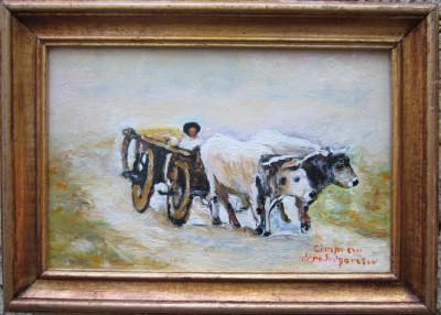 Tablou / Pictura car cu boi semnat Cimpoesu dupa Grigorescu foto
