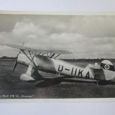 Carte postala/fotografie originala monoplan german antrenament:Focke-Wulf Fw 56