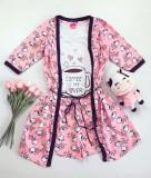 Cumpara ieftin Set dama Pijama 3 piese alcatuit din maieu + pantaloni scurti + halat imprimeu Coffee is my lover