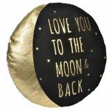 Perna decorativa, model luna cu mesaj, 40×10 cm, negru/auriu