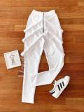 Cumpara ieftin Pantaloni dama lungi albi cu fermoar si bretele
