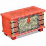 VidaXL Cufăr din lemn de mango, 80 x 40 x 45 cm, roșu