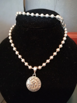 Medalion ARGINT vintage + lant argint + cutie bijuterii foto