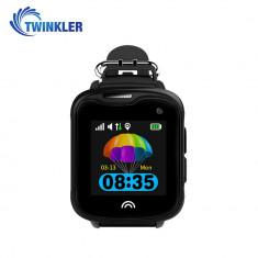 Ceas Smartwatch Pentru Copii Twinkler TKY-D7 cu Functie Telefon, Localizare GPS, Camera, Pedometru, IP54 - Negru, Cartela SIM Cadou