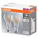 Set 2 becuri LED Osram 7W E27 A60 2700K lumina calda 806 lumeni A++
