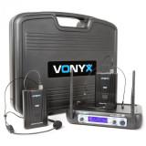 Vonyx WM512H 2 canale afișare bodypacks sistem radio VHF
