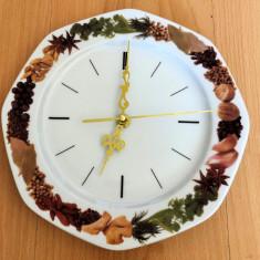 Ceas de perete / Farfurie - decorativ - mecanism quartz - condimente