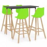 Set mobilier de bar, 5 piese, verde, vidaXL