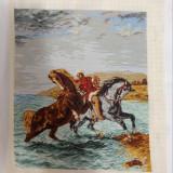"Goblen ""Marocanul scoțând caii din mare"" dupa E. Delacrois"