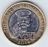 Moneda jubiliara Anglia - 2 lire 2014 - 100 years First World War - UNC, Europa, Cupru-Nichel