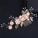 Accesoriu de par auriu cu flori roz Blooming Bouquet