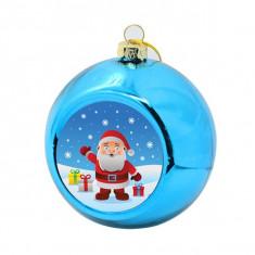 Glob personalizat rotund din plastic pentru brad albastru 8 cm