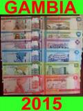 GAMBIA █ SET COMPLET █ 5 + 10 + 20 + 50 + 100 + 200 Dalasi █ 2015 █ P31-36 UNC